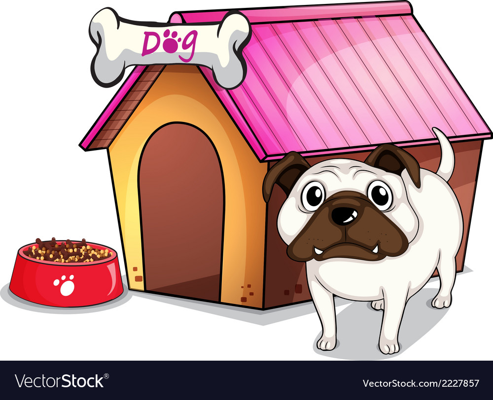 A dog outside the doghouse vector | Price: 1 Credit (USD $1)