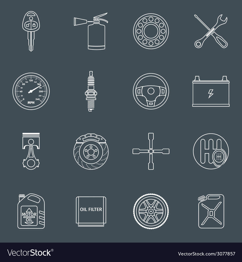 Car parts icons outline vector | Price: 1 Credit (USD $1)
