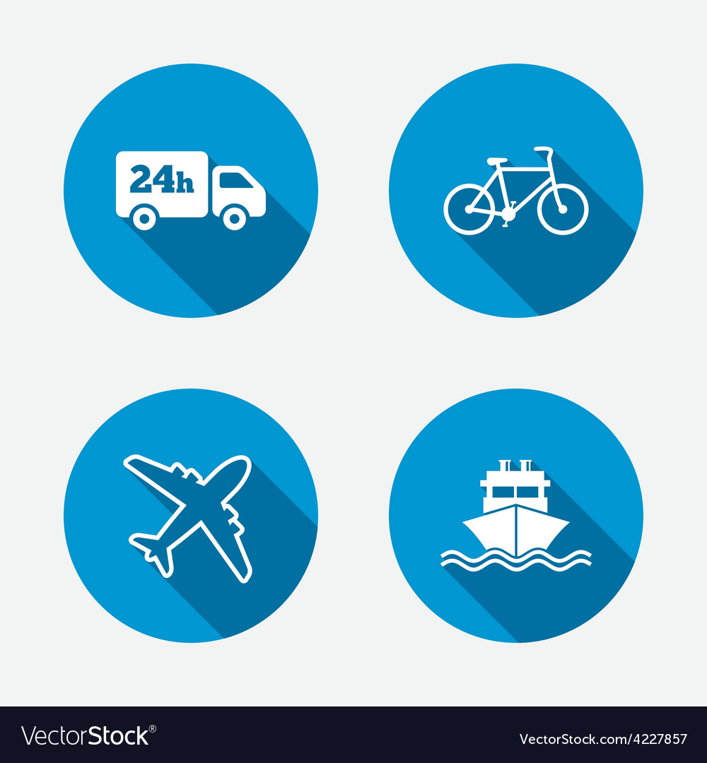 Cargo truck shipping bicycle delivery service vector | Price: 1 Credit (USD $1)