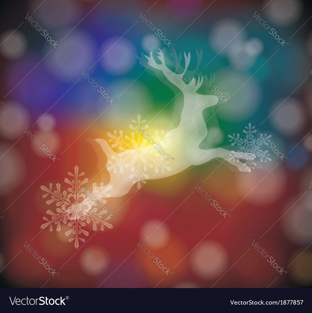 Christmas card with stylized white deer with vector   Price: 1 Credit (USD $1)