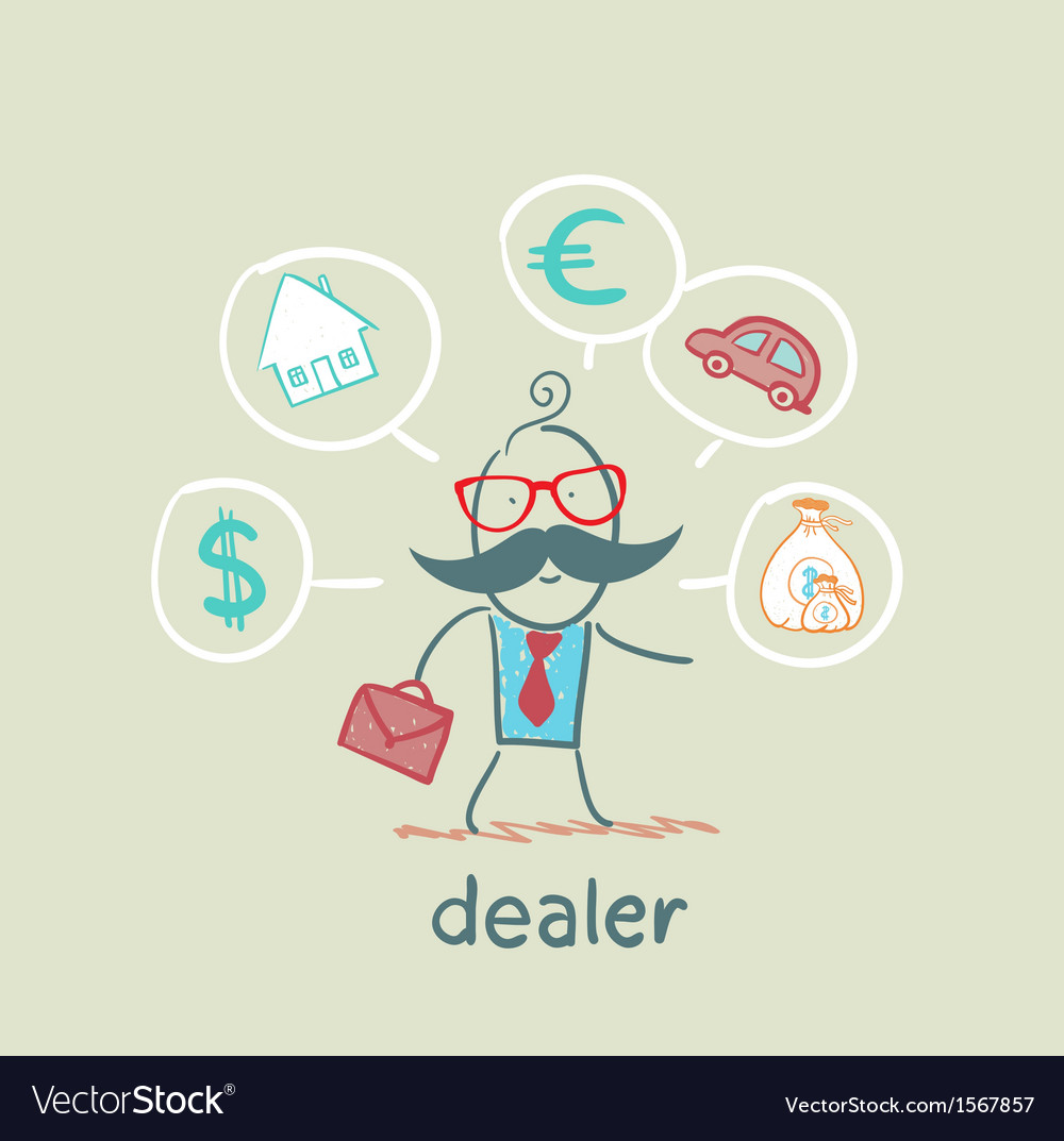 Dealer thinks about currencies house car money vector | Price: 1 Credit (USD $1)