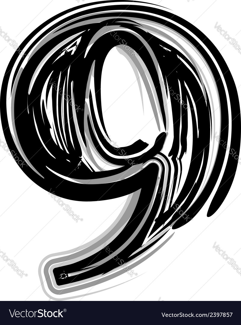 Freehand typography number 9 vector | Price: 1 Credit (USD $1)