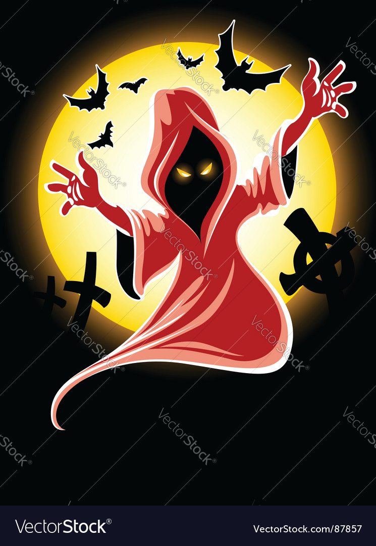 Frightful halloween midnight ghost vector | Price: 1 Credit (USD $1)