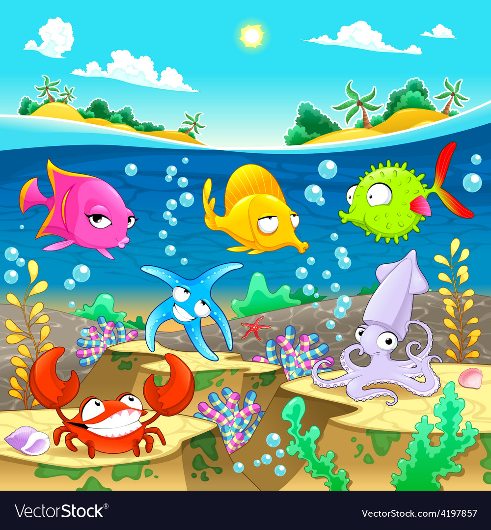 Happy marine family under the sea vector | Price: 3 Credit (USD $3)