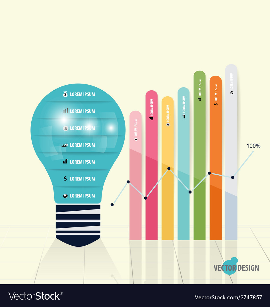 Infographic design template light bulb with vector | Price: 1 Credit (USD $1)
