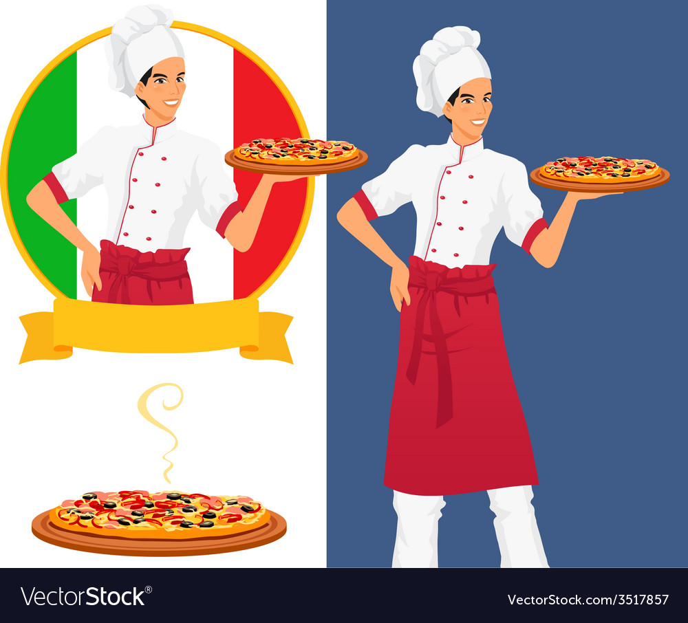 Italian tasty pizza and man chef vector | Price: 1 Credit (USD $1)