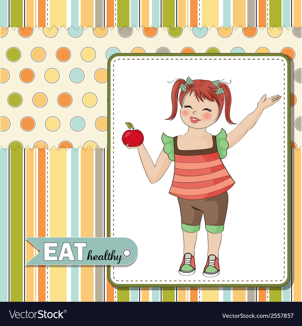 Pretty young girl recommends healthy food vector | Price: 1 Credit (USD $1)