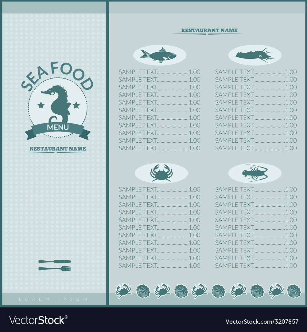 Seafood restaurant menu vector   Price: 1 Credit (USD $1)