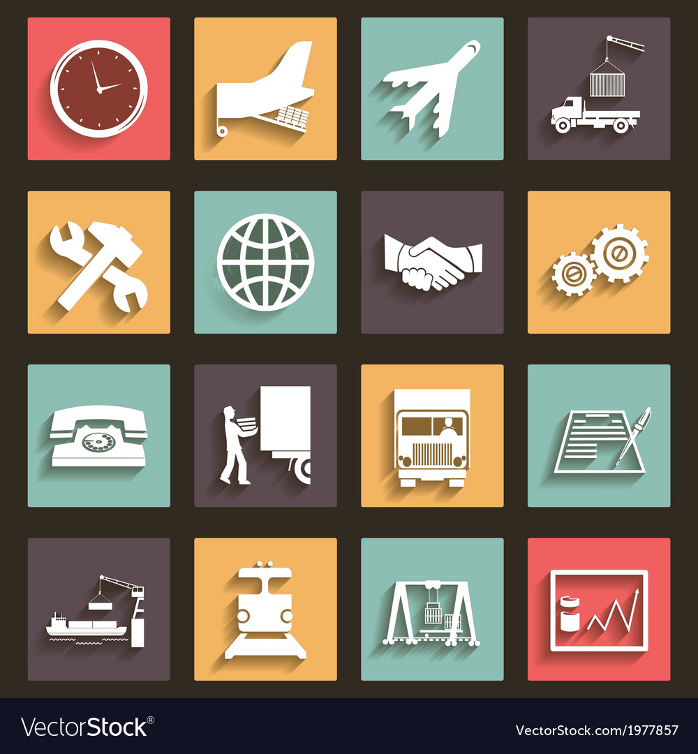 Shipment and transportation icons symbols flat vector | Price: 1 Credit (USD $1)
