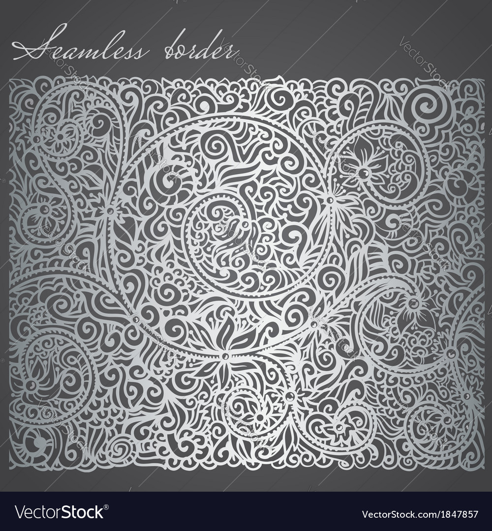 Silver seamless border vector | Price: 1 Credit (USD $1)