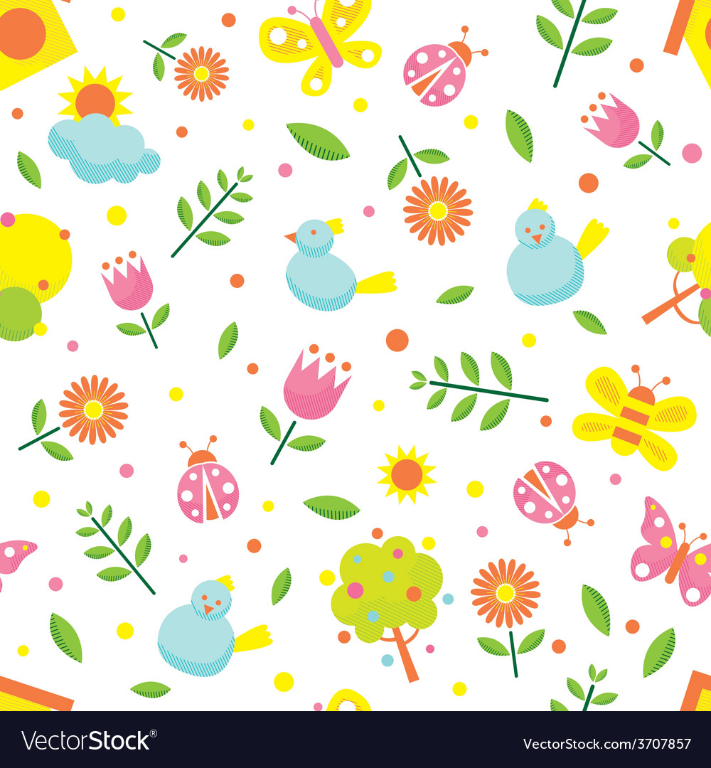 Spring season object icons seamless pattern vector | Price: 1 Credit (USD $1)