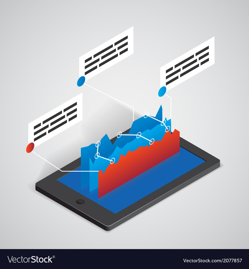 Tablet pc with chart business concept vector | Price: 1 Credit (USD $1)