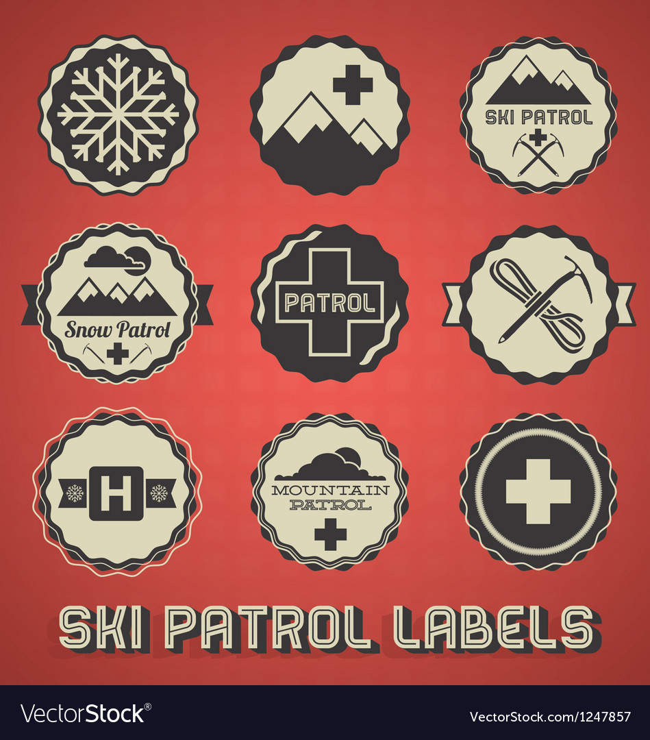 Vintage ski patrol labels and icons vector | Price: 3 Credit (USD $3)