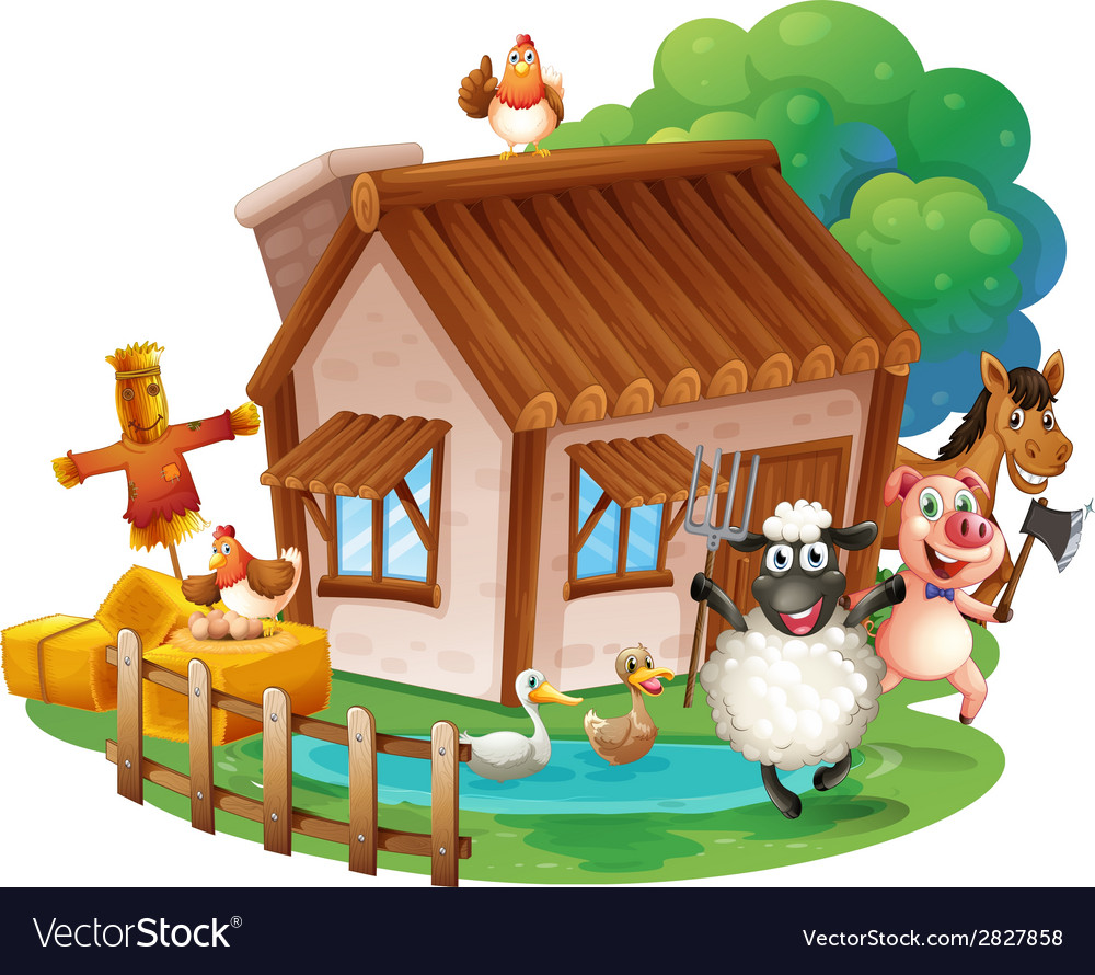 Animals and cottage vector | Price: 3 Credit (USD $3)