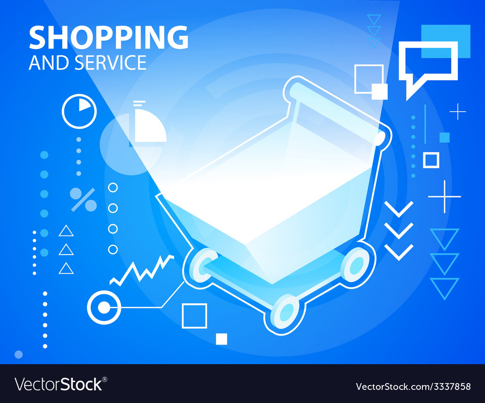 Bright shopping trolley on blue background f vector | Price: 3 Credit (USD $3)