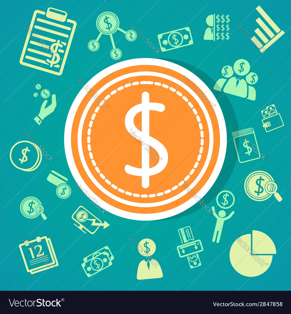 Finance icons background vector | Price: 1 Credit (USD $1)