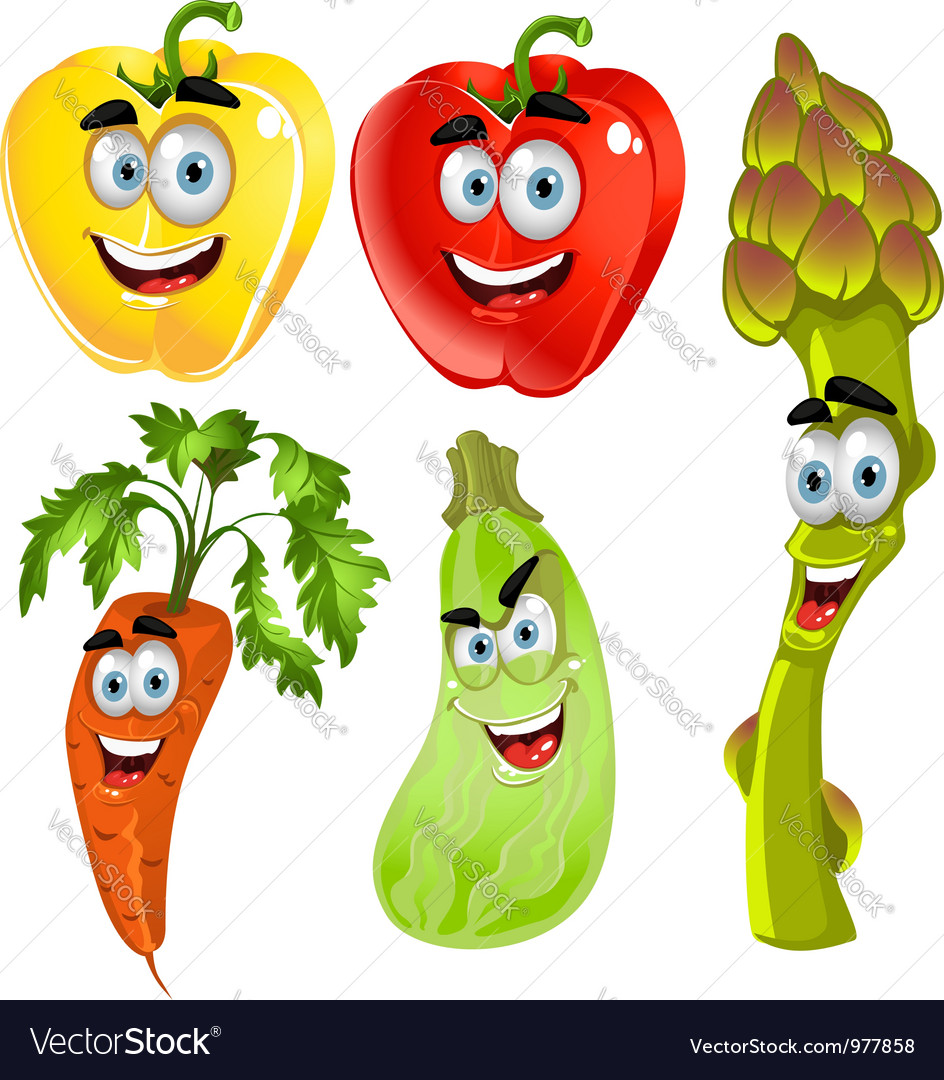 Funny cartoon cute vegetables peppers asparagus vector | Price: 3 Credit (USD $3)