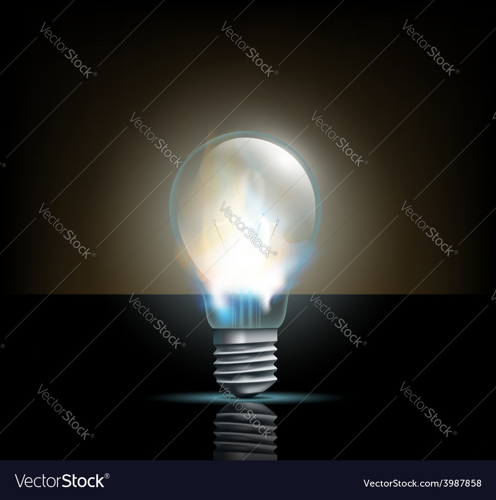 Glowing filament lamp on a dark background vector | Price: 1 Credit (USD $1)