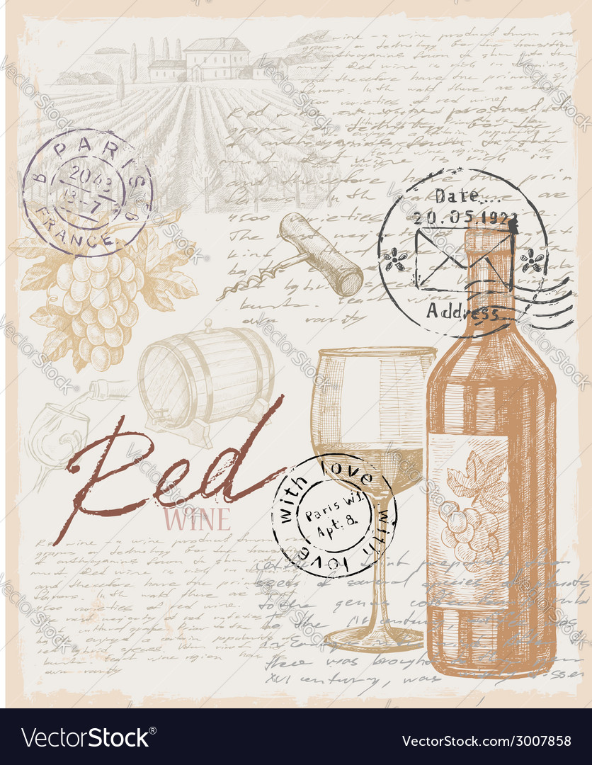 Hand drawn wine vector | Price: 1 Credit (USD $1)
