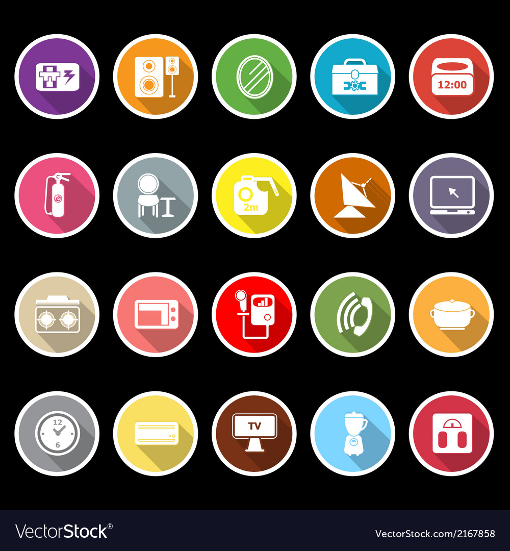 House related icons with long shadow vector | Price: 1 Credit (USD $1)