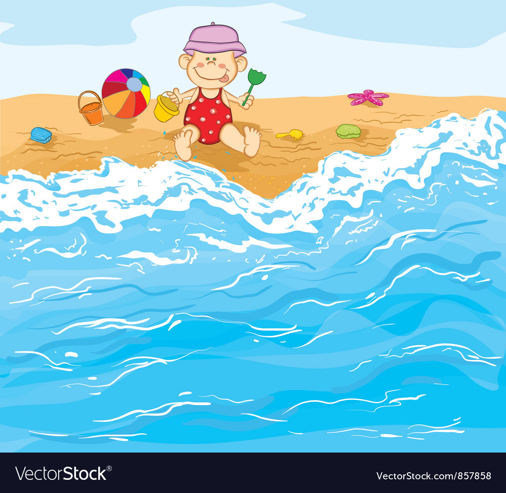 Little baby boy playing on the beach vector | Price: 3 Credit (USD $3)