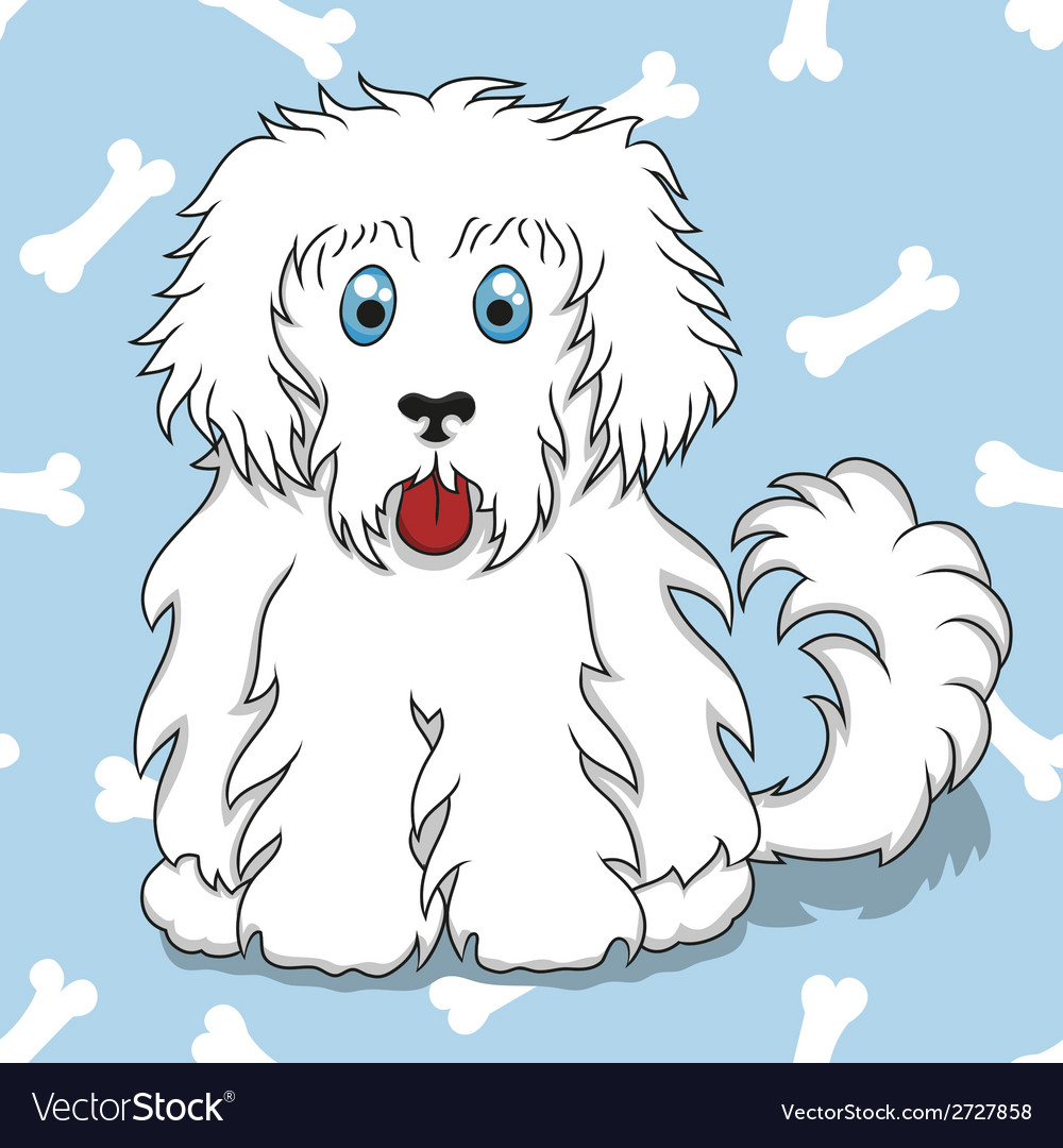 Seamless pattern with white fluffy dog vector | Price: 1 Credit (USD $1)