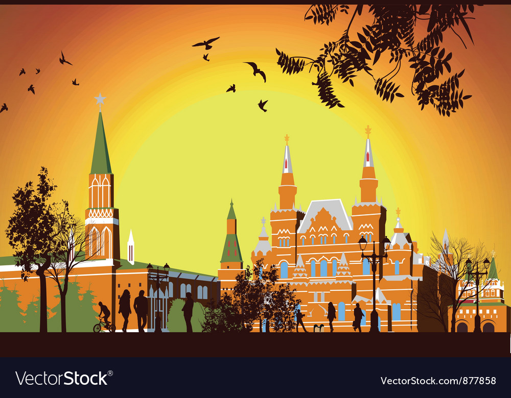Tourists walk on red square in moscow vector | Price: 3 Credit (USD $3)