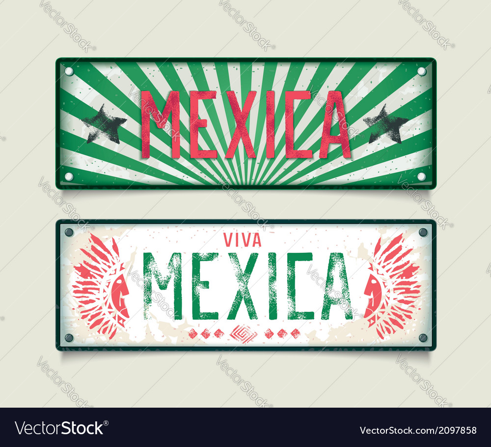 Two grunge car plates mexica vector | Price: 1 Credit (USD $1)