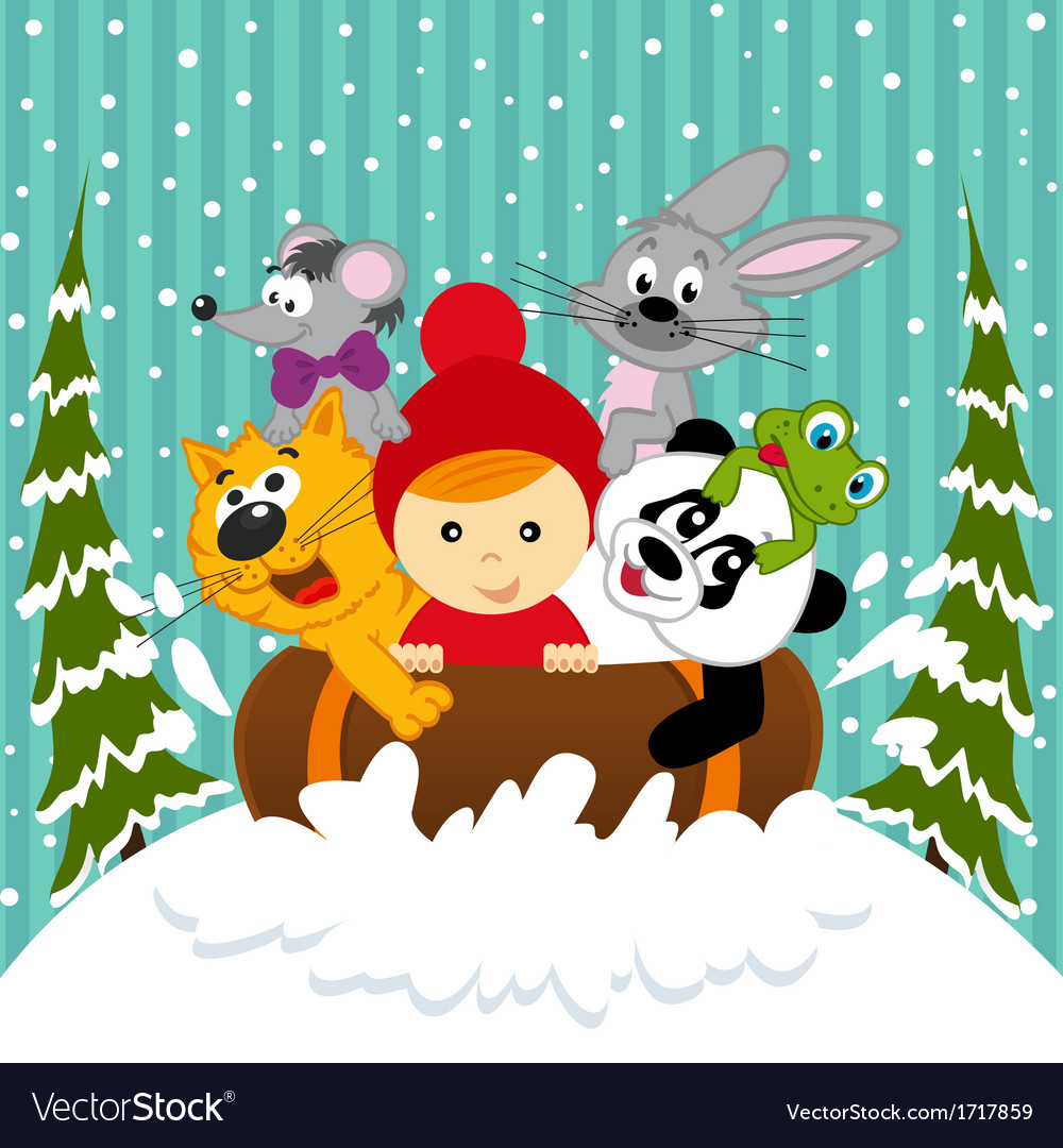 Boy and animals together sledging vector | Price: 3 Credit (USD $3)
