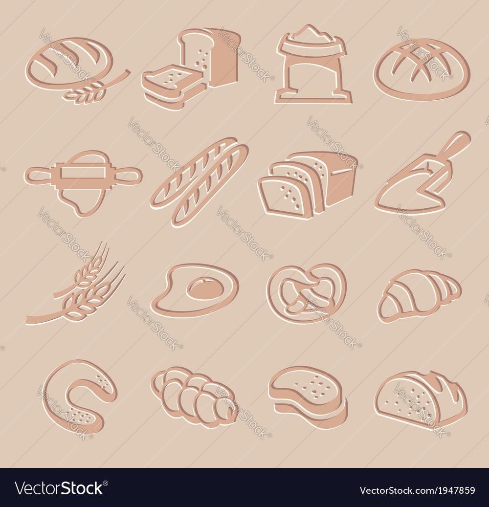 Bread icon set vector | Price: 1 Credit (USD $1)