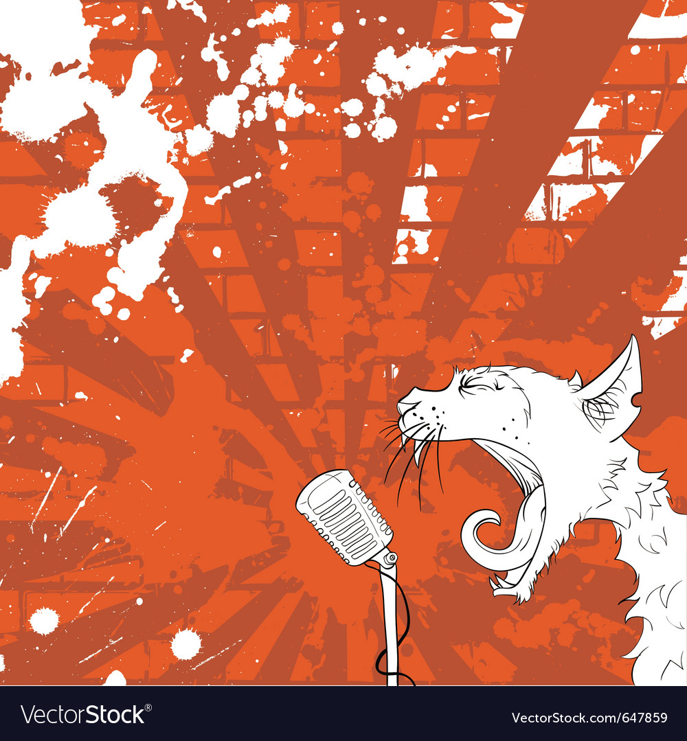 Cat on the microphone vector | Price: 1 Credit (USD $1)