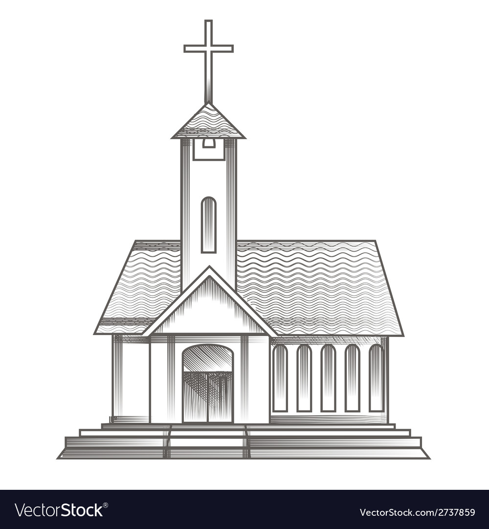Church in engraving style vector | Price: 1 Credit (USD $1)