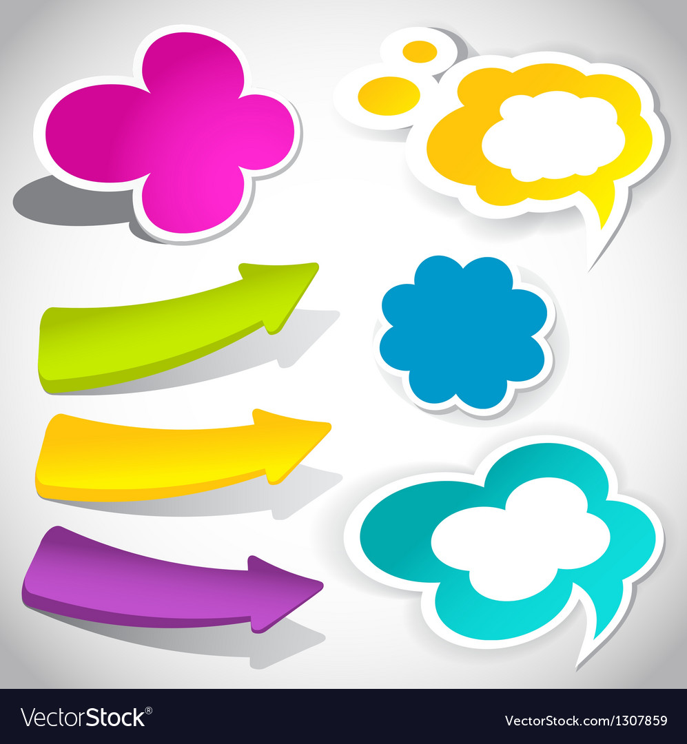 Colorful speech bubbles and arrows for your text vector | Price: 1 Credit (USD $1)