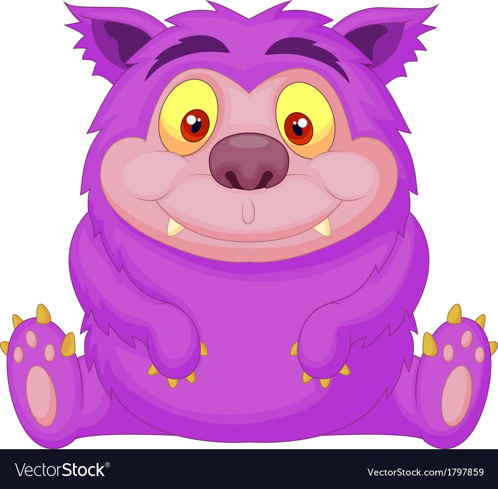 Cute purple monster cartoon vector | Price: 1 Credit (USD $1)