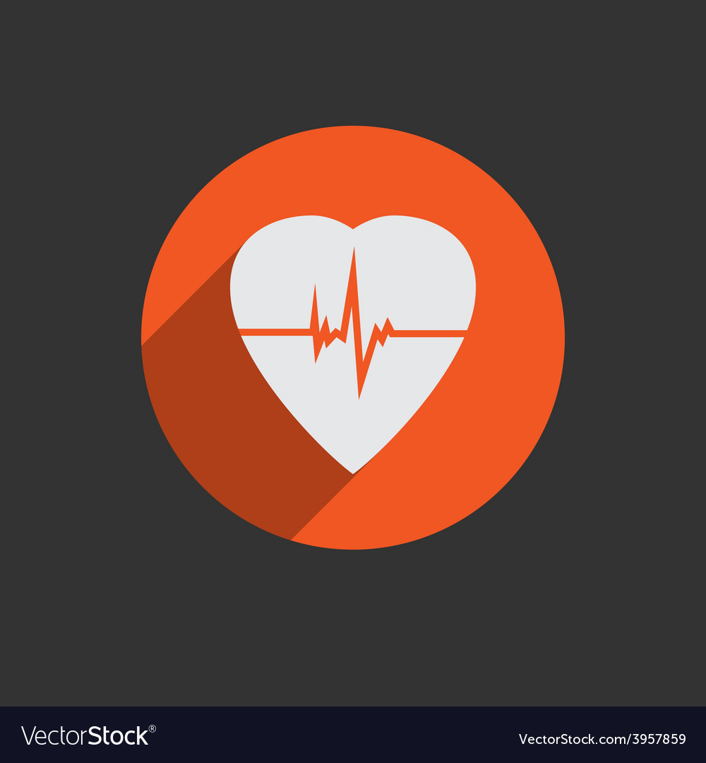 Defibrillator heart icon isolated on red vector | Price: 1 Credit (USD $1)