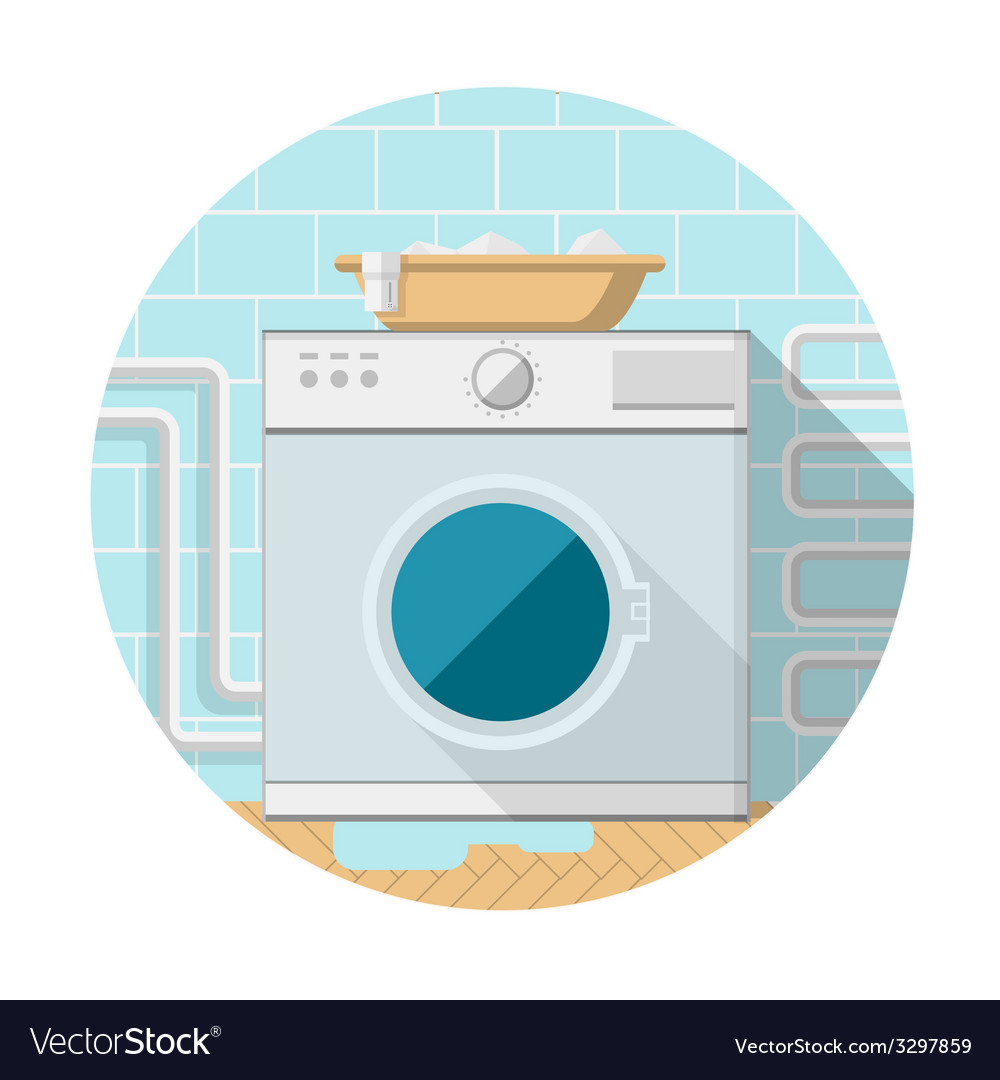 Flat icon of washing machine in bathroom vector | Price: 1 Credit (USD $1)