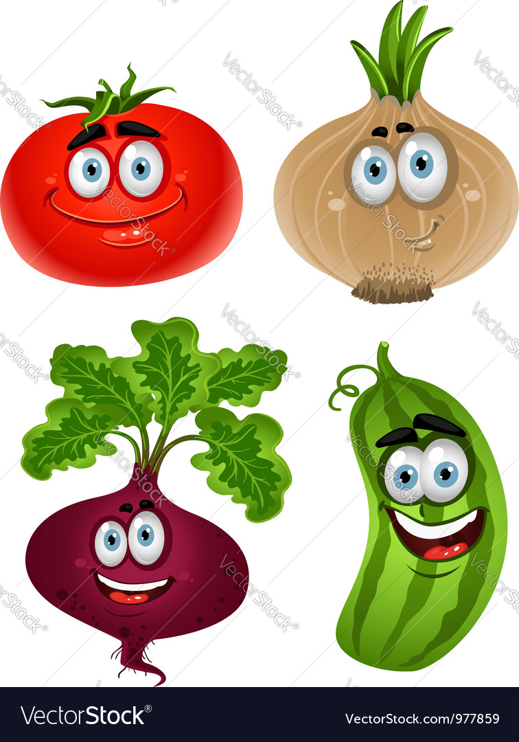 Funny cartoon cute vegetables tomato beet cucumber vector | Price: 3 Credit (USD $3)