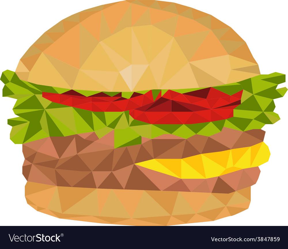 Hamburger low polygon vector   Price: 1 Credit (USD $1)