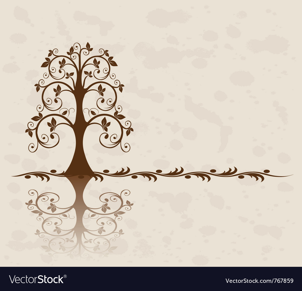 Openwork tree on vintage background vector | Price: 1 Credit (USD $1)