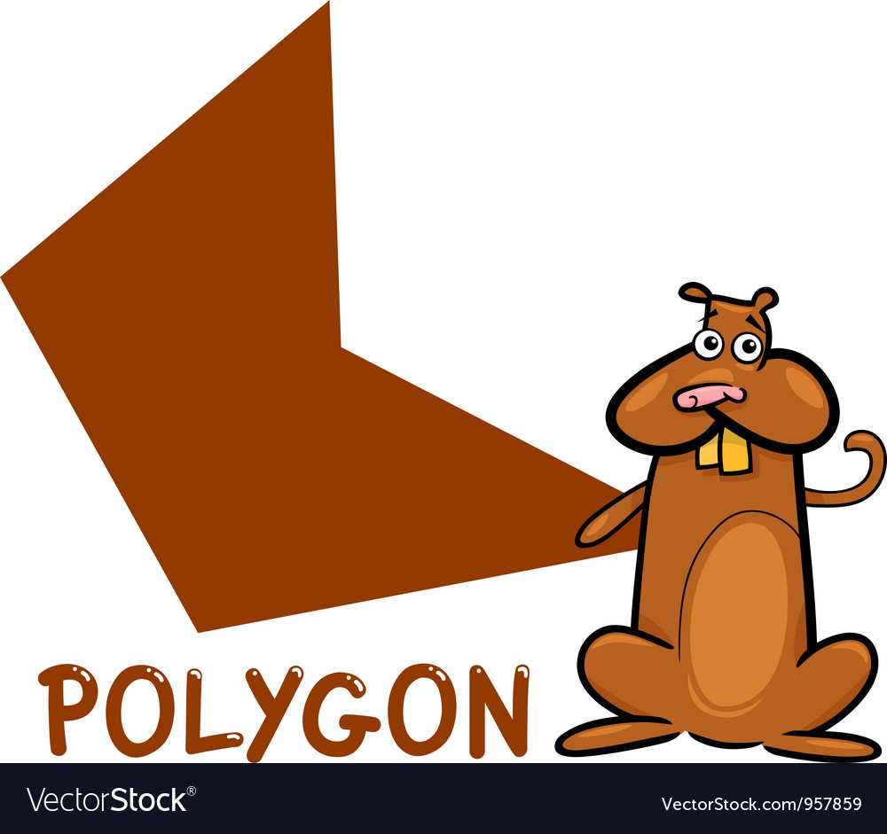 Polygon shape with cartoon hamster vector | Price: 1 Credit (USD $1)