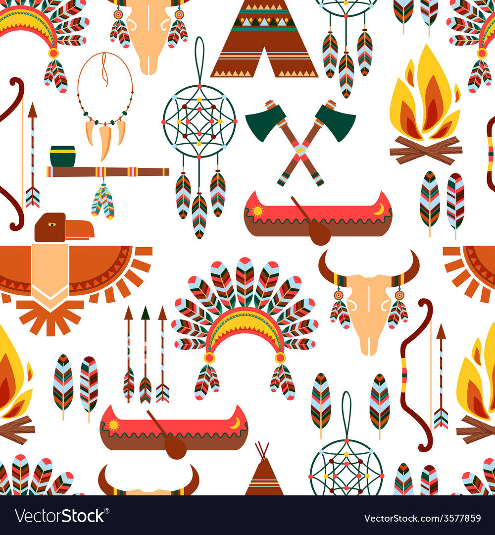 Seamless pattern american tribal native symbols vector | Price: 1 Credit (USD $1)