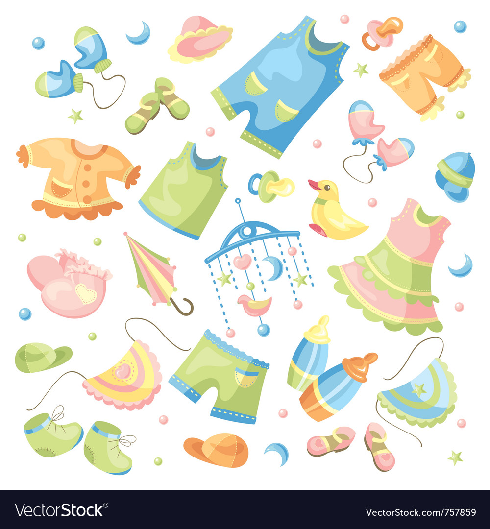 Set of baby clothing and accessories vector | Price: 3 Credit (USD $3)