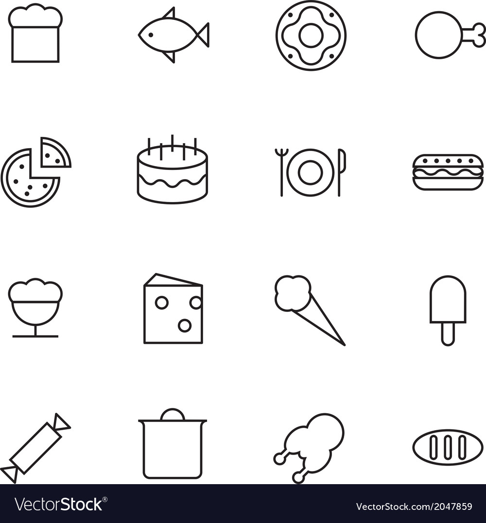 Thin line icons for food vector | Price: 1 Credit (USD $1)
