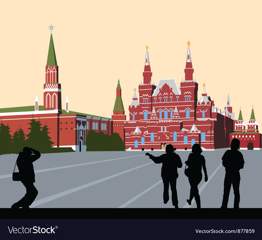 Tourists walk on red square vector | Price: 3 Credit (USD $3)