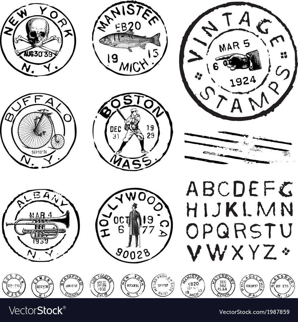 Vintage stamps and labels vector