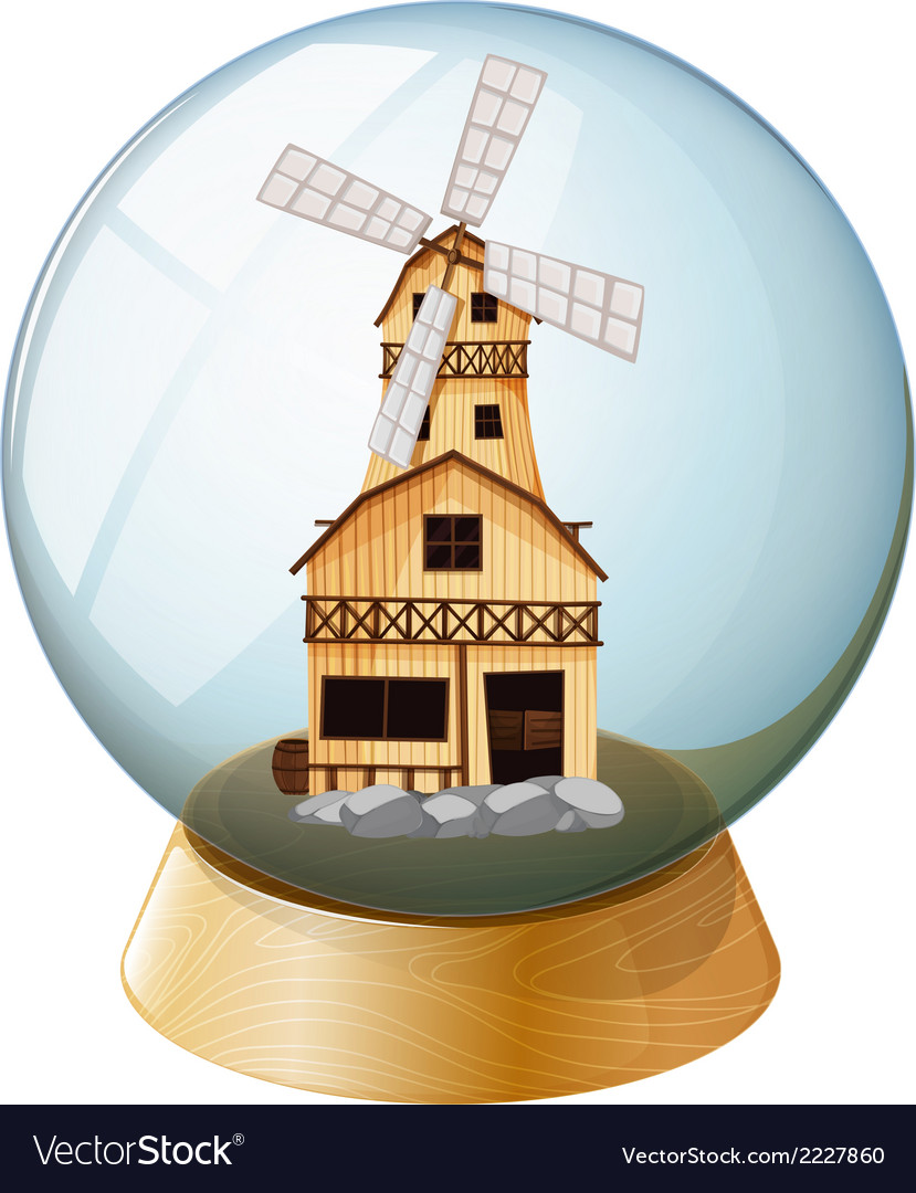 A crystal ball with a wooden house vector | Price: 1 Credit (USD $1)