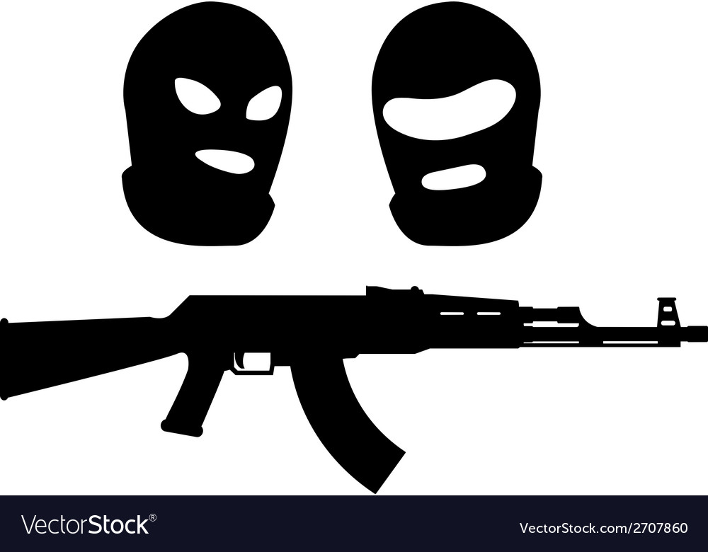 Balaclavas and machine gun vector | Price: 1 Credit (USD $1)