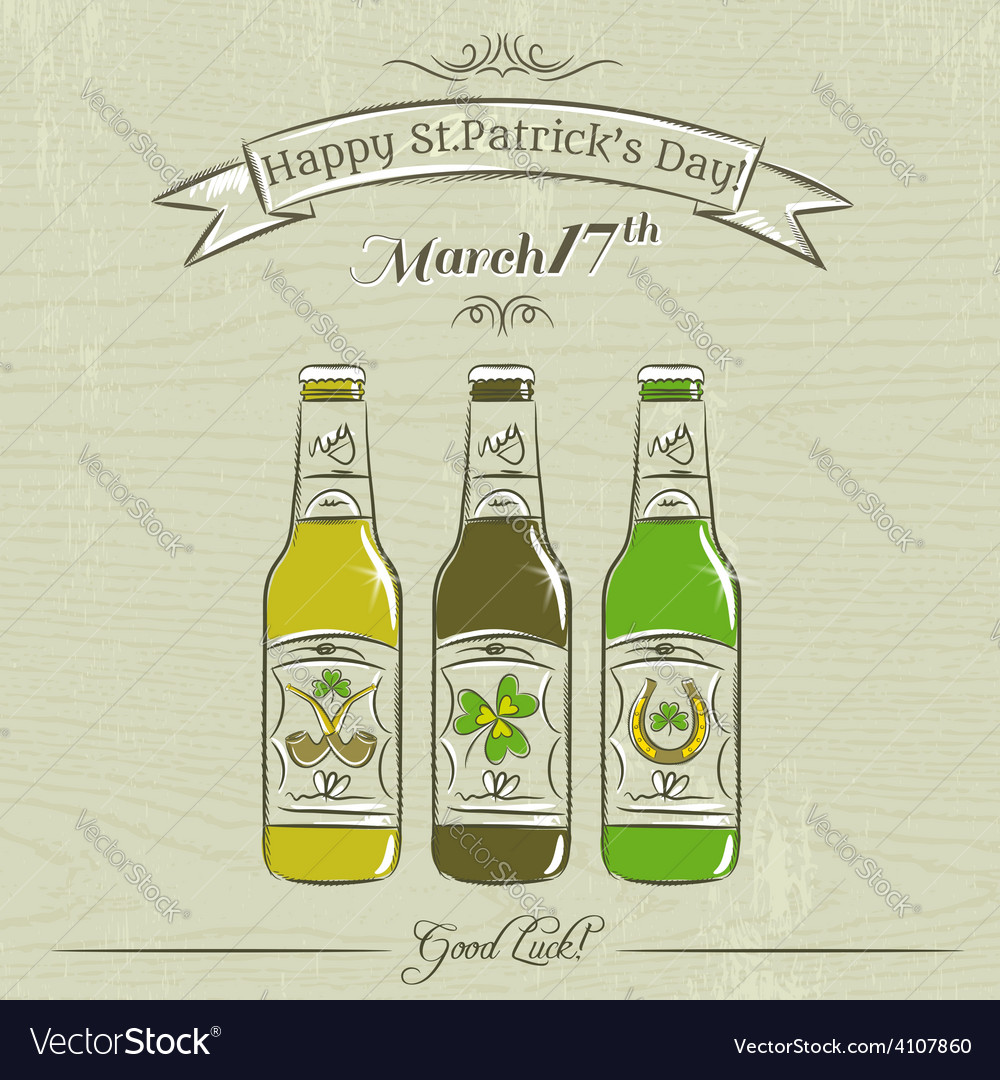 Card for st patricks day with three bottles of bee vector | Price: 1 Credit (USD $1)