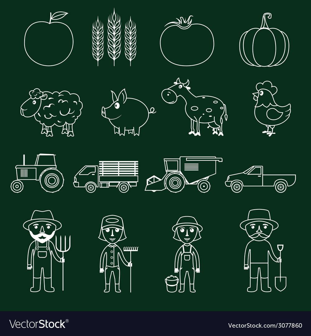 Farm icons set outline vector   Price: 1 Credit (USD $1)