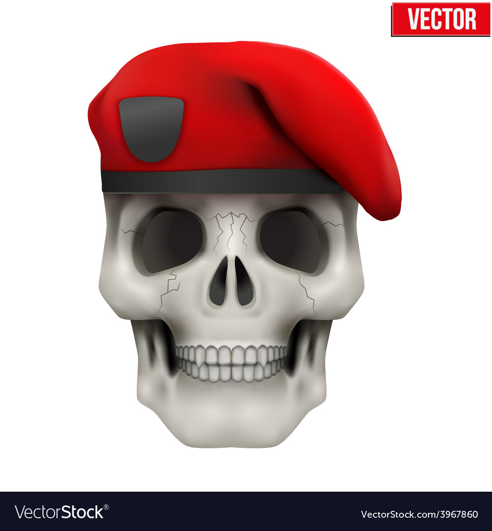 Human skull with military maroon beret vector | Price: 1 Credit (USD $1)